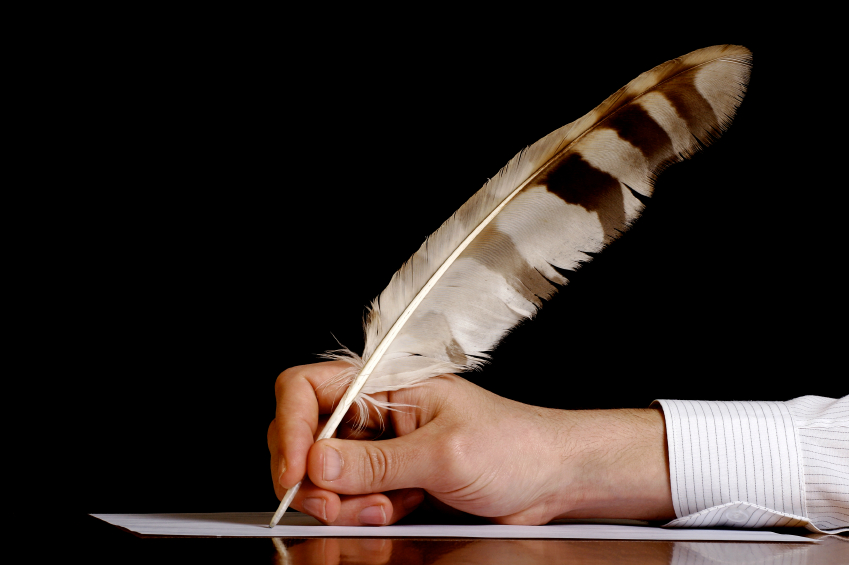 quill, paper and writer