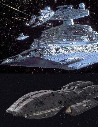 Imperial Star Destroyer vs. Battlestar Pegasus